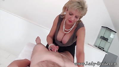 MILF Lady Sonia with first timer Knead table Handjob