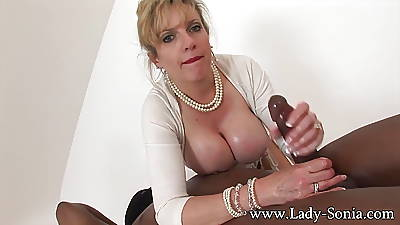 MILF Lady Sonia strokes HUGE insidious cock