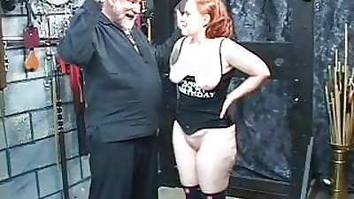 Redhead slut Kirsten sucks will not hear of master's cock then gets fucked and spanked