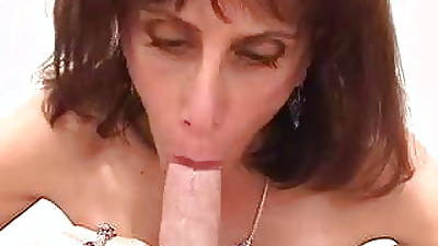 Skinny aging slutbag wraps the brush gross tits around white cock