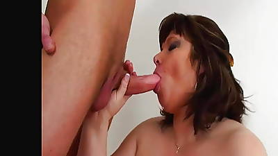 Brunette MILF transforms to a Light-complexioned Granny