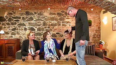 Orgy with 3 mature mothers and one young flannel