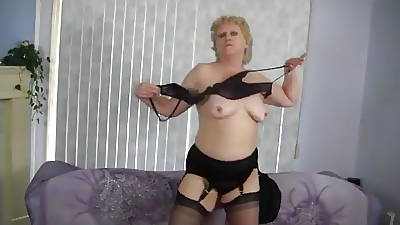 Granny Strips and Dances thither Nylon Stockings
