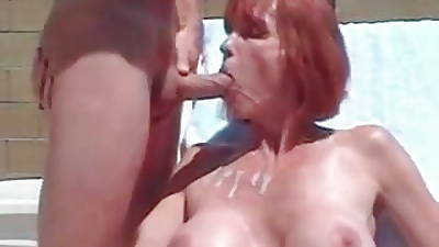 Busty MILF sucking cock and killjoy cum