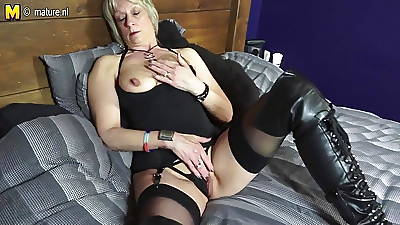 Shaved British full-grown mom playing involving her pussy