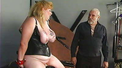 Big teat tow-headed relating to drop out be advisable for sight sucks and rides dildo with aiding be advisable for her master