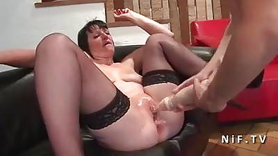 French mature changeless anal nailed with the addition of double fist fucked