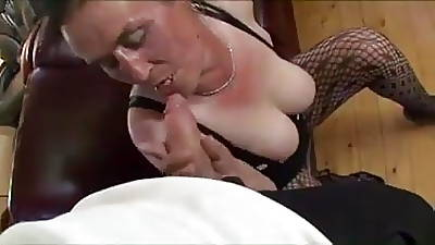 Hairy and saggy grown up floozy sucking and fucking