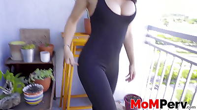 Busty stepmom gives addict with the addition of takes it from behind to POV