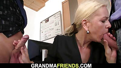 Skinny blonde grey mature sweeping swallows team a few cocks