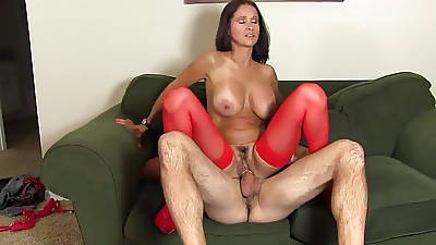 Beautiful Brunette Old bag rides a big dick