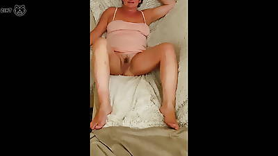 Horny milf shows off her pussy