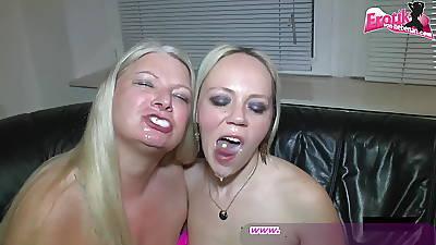 German bukkake itty-bitty condom gangbang housewife sexparty