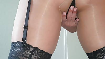 Stripping, Garterbelt & Stockings over Pantyhose & Heels