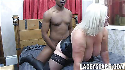 LACEYSTARR - Lie doggo clad granny gets interracial spitroast