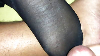 Cum on the top of my wifes pantyhosed paws