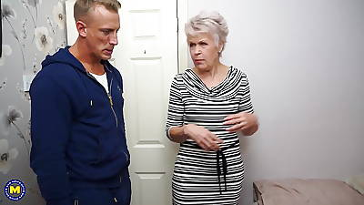 Granny gets staggering lovemaking with strong young boy