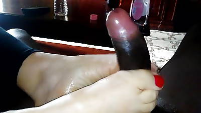 Red Toes BBC Footjob