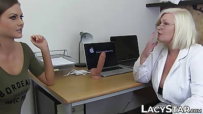 Debase Lacey Starr examines 18yo with tongue added to toys