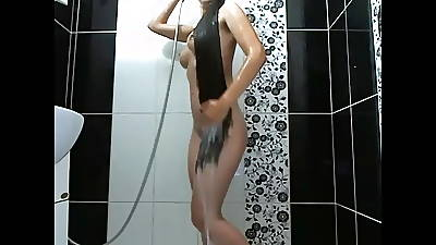 Fantastic Long Haired Brunette Shower coupled with Hairplay