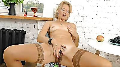 Mature Blonde MILF Diana V Plays Upon Her Hairy Pussy