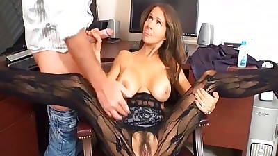 MILF In Lace Pantyhose Masterbates In the long run b for a long time Socking Handjob