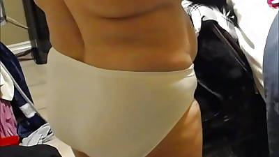 getting dressed beamy sallow panty nearby thong bbw wife