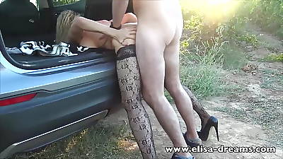 Hotwife gets fucked apart from a young guy outdoors