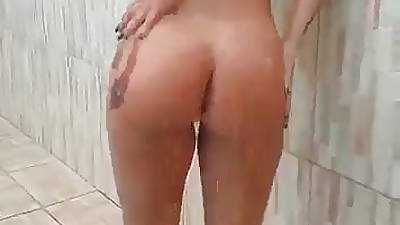 hot woman luring a shower